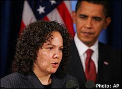 Nancy Sutley and Barack Obama. Photo: AP
