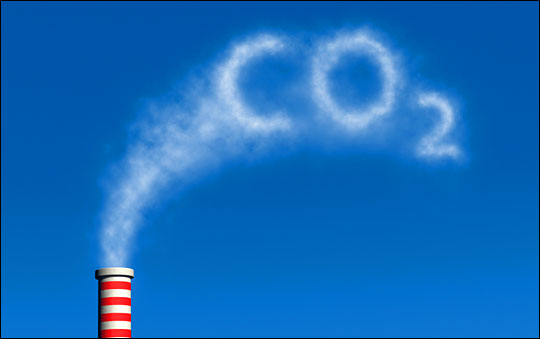 CO2 pouring out of smokestack