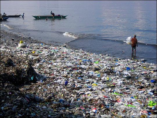 Plastic garbage on beach