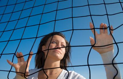 woman in grid