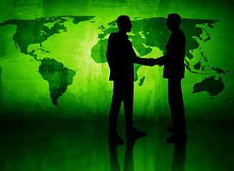 Green handshake.
