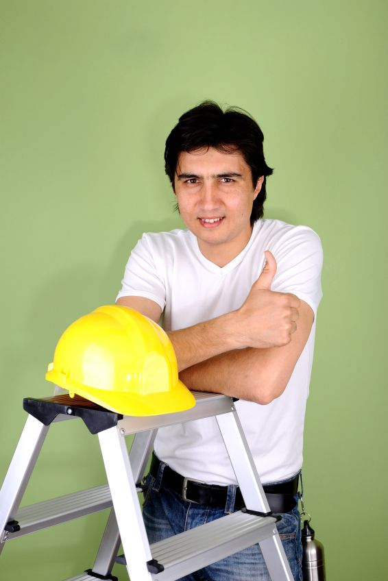 Young man with hardhat