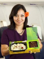 flight attendant with eco-meal