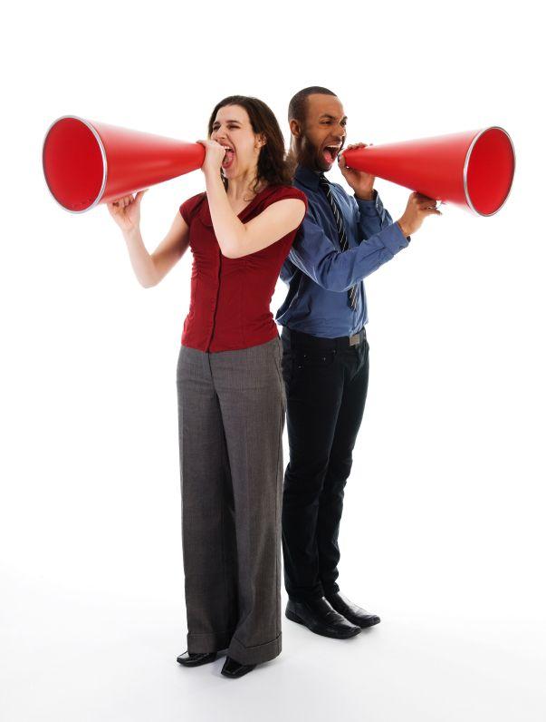 People with megaphones