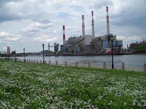 power plant along river