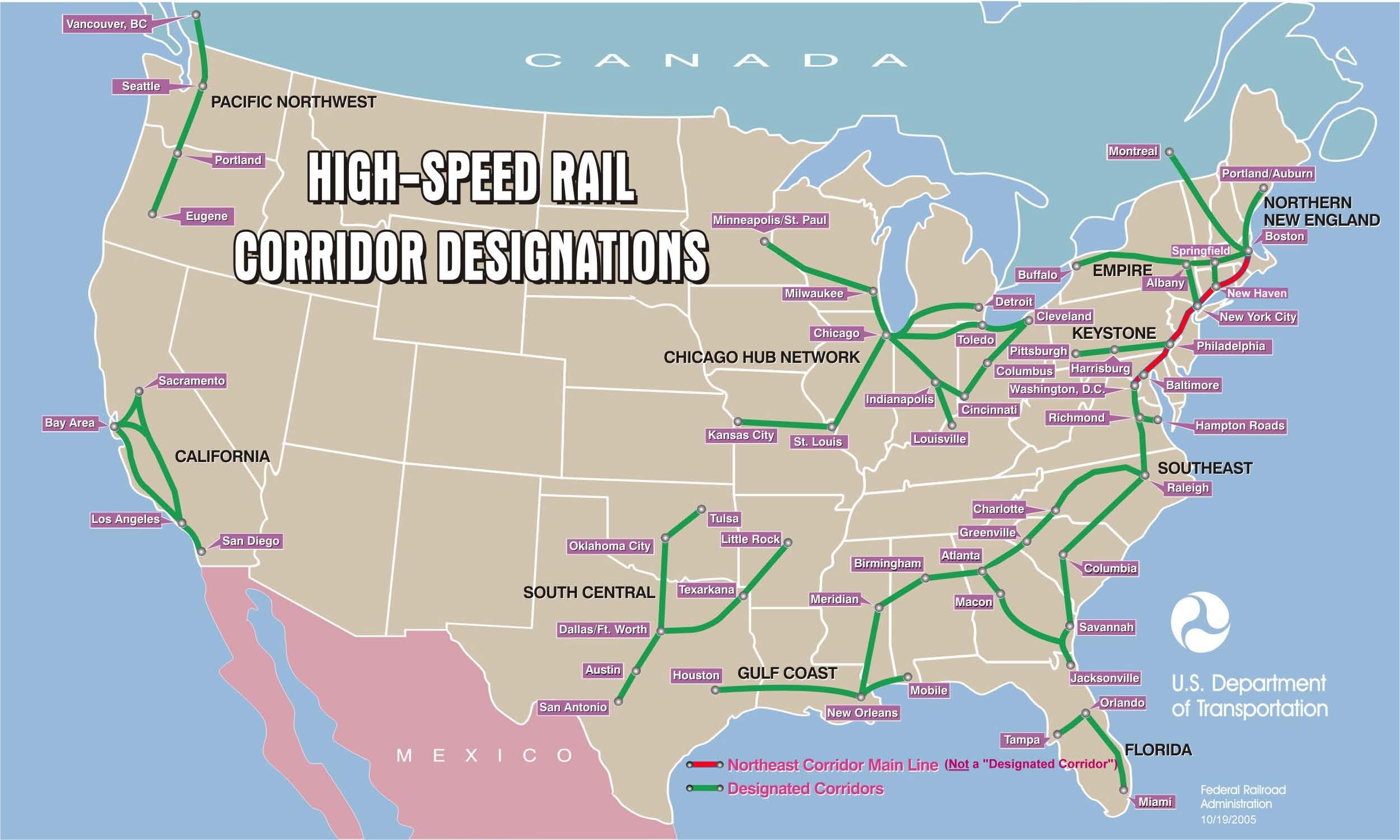 Map of proposed rail corridors.