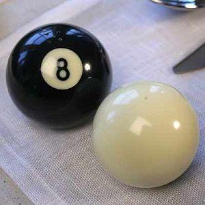 Billiard salt and pepper shakers