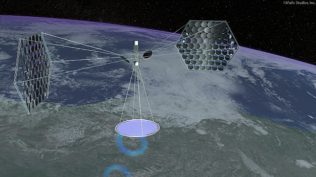 A conceptual image of what a space-based solar power plant would look like. The image was commissioned by the National Space Society Mafic Studios, In