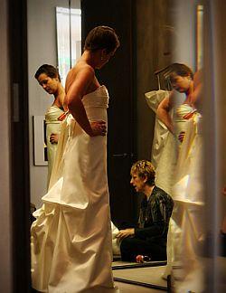 Wedding dress fitting.