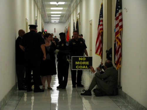 Protesters arrested outside Rick Boucher's office.