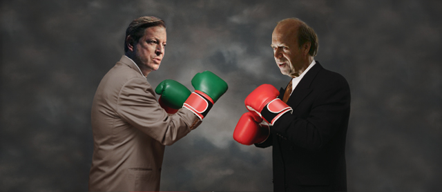 Illustration of Al Gore and James Hansen boxing