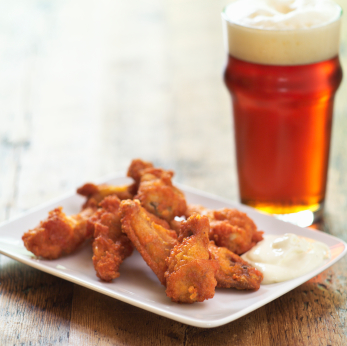 Beer and wings.