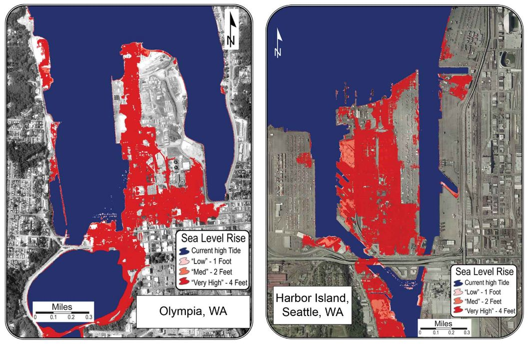 Map of sea-level rise in Puget Sound