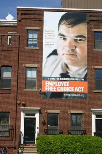 EFCA banner on building.