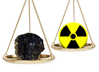 Scale weighing coal and nuclear power