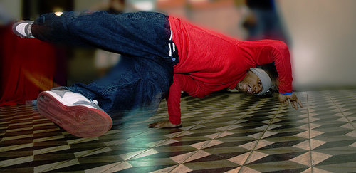 Breakdancer spinning.