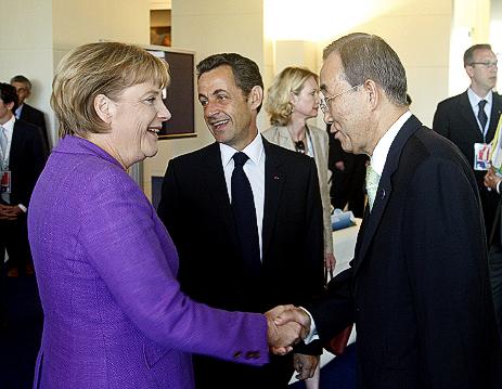 Ban Ki-Moon, Angela Merkel and Nicolas Sarkozy