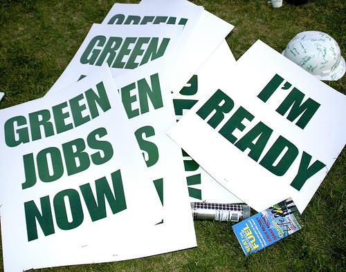 Green jobs signs.