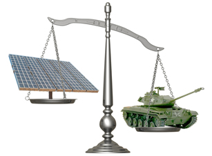 Scale weighing solar array and tank