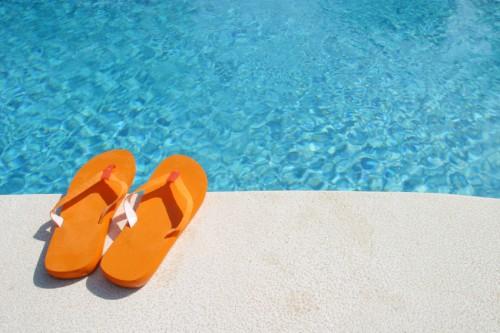 flip-flops by pool