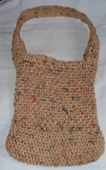 Tote bag woven from plastic bags.