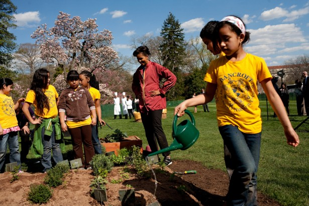 Michelle Obama with students in the White House garden.