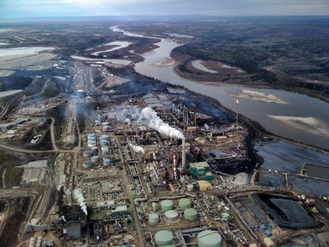 tar sands refinery aerial shot