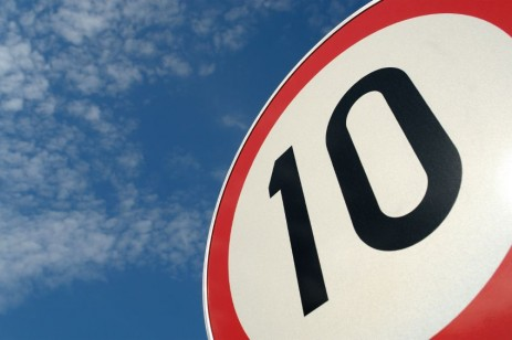 """""""10"""" on a road sign"""