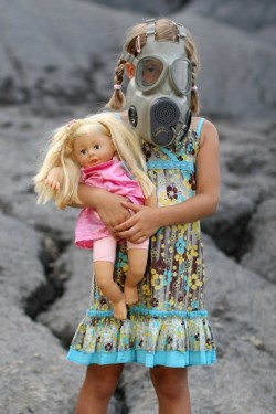 Girl with gas mask.