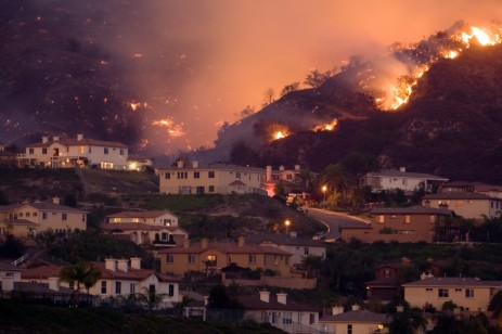 wildfire and houses