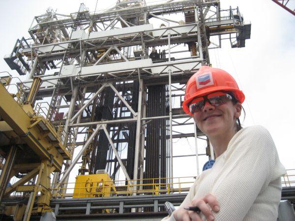 Amanda Little on oil rig