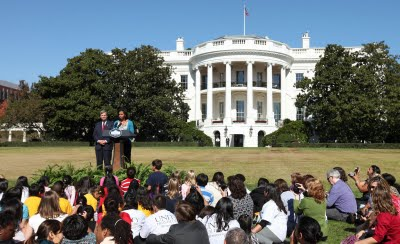 Michelle Obama speaking in front of the White House