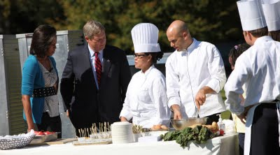 Michelle Obama meeting with chefs