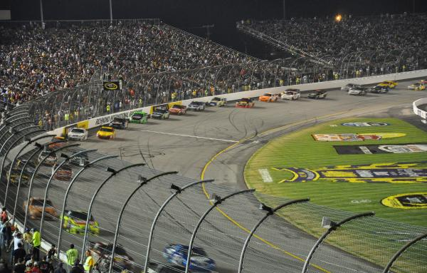 The action at the Talladega Superspeedway.