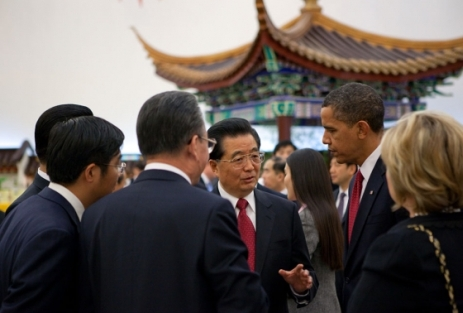 Obama and President Hu Jintao together at a reception before the formal state dinner in Beijing.
