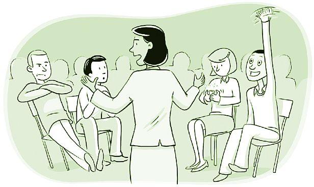 Group participation cartoon.