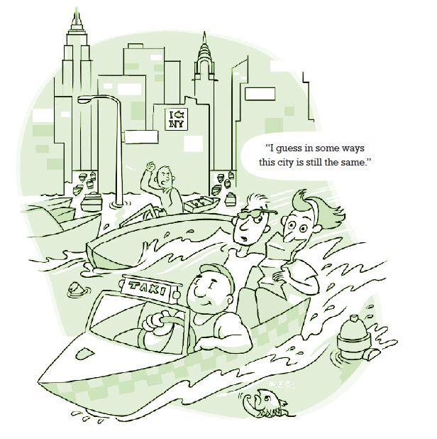 New York water rise cartoon.