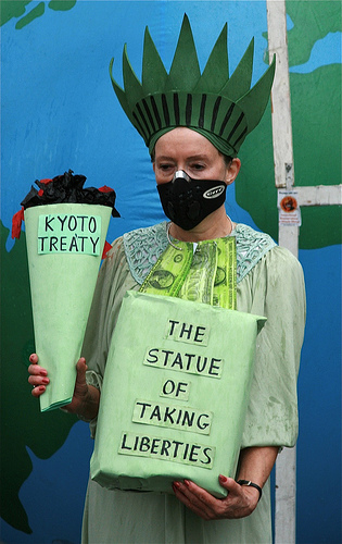 Statue of Liberty climate protest