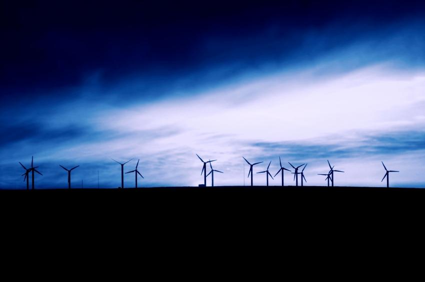 turbines at twilight