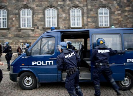 Cops after a Ungdomshuset demonstration in Copenhagen.