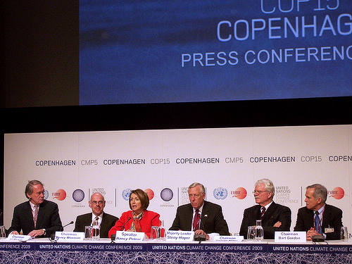 Pelosi and colleagues at Copenhagen talks