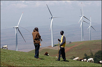 Kenya built its first wind farm, above, outside Nairobi. In January, construction will begin on a $760 million wind farm in the Chalbi Desert.