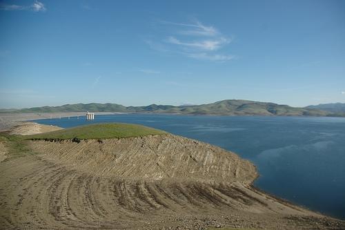 The San Luis Reservoir in California.