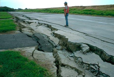 Road damage following an earthquake.