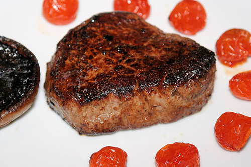heart-shaped steak