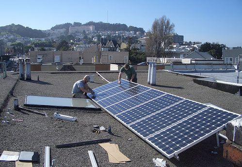 Solar panel installation in San Francisco.
