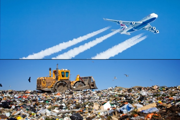 Airplane and landfill