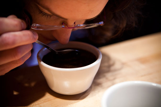 Sniffing coffee