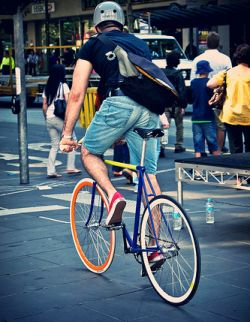 Man on a fixed gear.