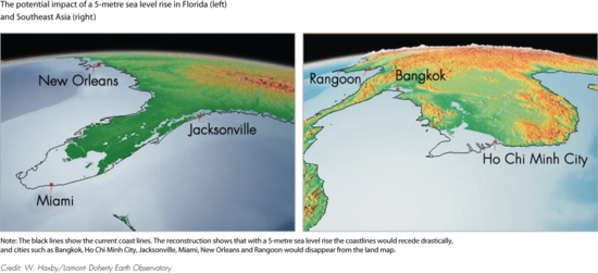 The potential impact of a 5-metre sea level rise in Florida (left) and Southeast Asia (right) (map/graphic/illustration)